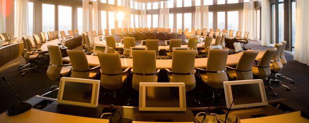 Euro-Kurs:In diesem Saal in der Frankfurter Zentrale der EZB wird über die Geldpolitik entschieden.