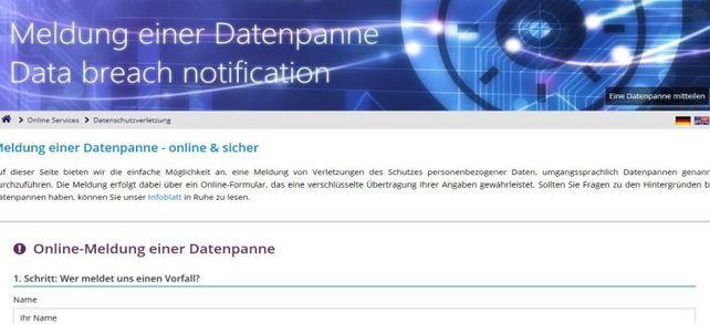 Online-Meldung bei Datenschützern: Wer eine Datenpanne anzeigen will, kann sie in ein solches Formular eintragen.