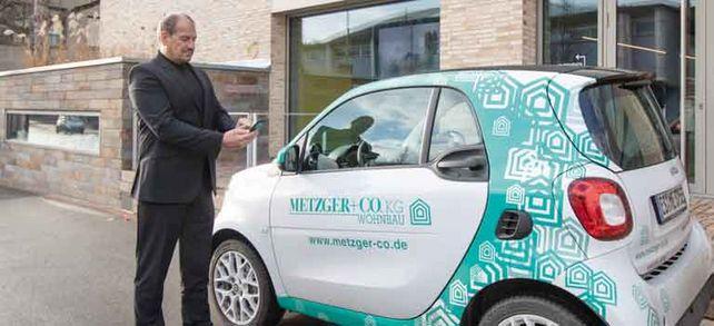 Ab zur Baustelle: Auch Metzger-Geschäftsführer Oliver Uecker nutzt die Elektrosmarts.