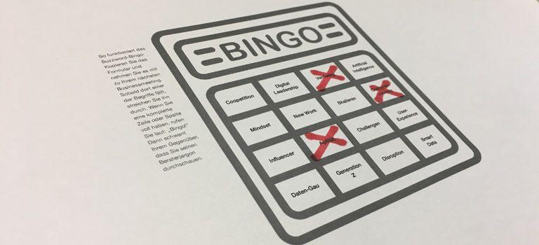 Zum Ausdrucken: Den Downloadlink zu unserem Buzzword-Bingo finden Sie im untenstehenden Artikel.