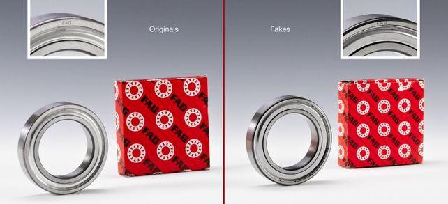 Hätten Sie diese Produktfälschung des Rillenkugellagers erkannt? Links ist das Original von Schaeffler Technologies AG & Co. KG, rechts die Fälschung von Yakang Bearing Supplies Co. aus China. Weitere Produktfälschungen finden Sie in der Bildergalerie im Artikel.