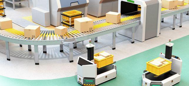 Immer in Bewegung: Roboter helfen beim Transport der Ware im Lager.