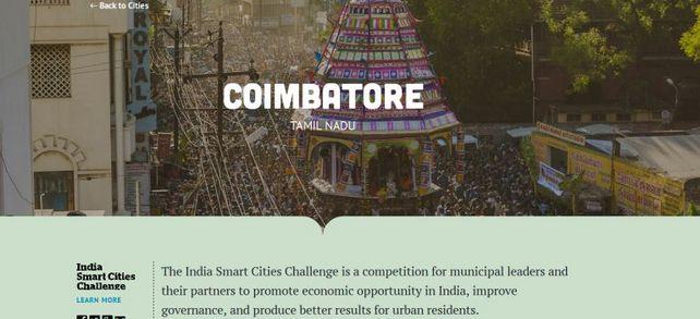 Wie auf dem Screenshot zu sehen: Zahlreiche indische Städte wollen ihre Stadt zu einer Smart City machen, indem sie diese mit gezielten Projekten effizienter, technologisch fortschrittlicher, grüner und sozial inklusiver machen. So auch die Stadt Coimbatore im südindischen Bundesstaat Tamil Nadu, sie ist ein wichtiger Textil-Industriestandort Indiens.